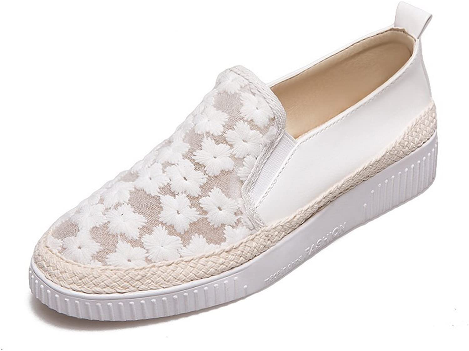 BalaMasa Ladies Hollow Out Square-Toe Platform Microfiber Flats shoes