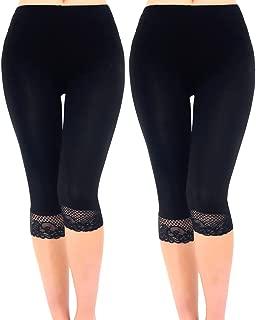 Liang Rou Women's Ultra Thin Stretch Cropped Leggings Black Lace Trim 2-Pack