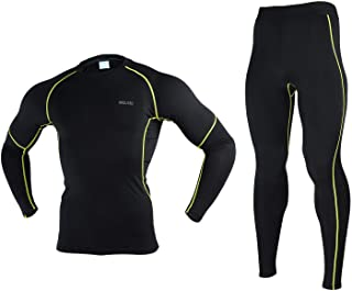 Arsuxeo Men's 2 Pieces Fitness Tight Set Running Quick-Drying Compression Suit
