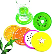 """3.5"""" Colorful Non Slip Silicone Coasters - Non Scratch Drink Cup Mat Coaster with Heat Insulation"""