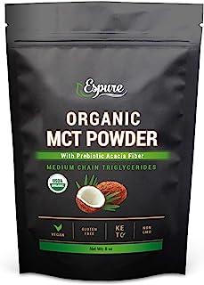 Espure Organic MCT Powder - USDA Certified, with Prebiotic Acacia Fiber; Keto Friendly, Vegan, Gluten Free; 8oz
