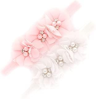 My Lello Flower Headbands Baby - Girls - Toddler Fabric Beaded Stretchy Elastic Pair