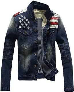 Men's Fitted Motorcycle Blue Jeans American Flag Patriot Denim Jacket