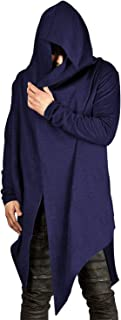 Sponsored Ad - poriff Mens Draped Cardigans Long Sleeve with Hooded Pockets Long Shawl Ruffle