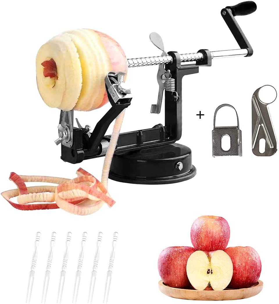 Apple Peeler, 3 in 1 Peeler Slicer Corer with Stainless Steel and Strong Heavy Suction Base for Apple Potato Pear,2 Extra Blades 10 pcs Forks(Black)