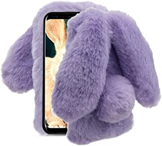 Aearl Compatible with Samsung Galaxy Note 9 Rabbit Fur Ball Case,Luxury Cute 3D Homemade Diamond Winter Soft Furry Fluffy Fuzzy Bunny Ear Plush Back Phone Case Cover for Girls Women-Purple