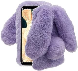 Aearl Samsung Galaxy Note 9 Case,Samsung Galaxy Note 9 Rabbit Fur Ball Case,Luxury Cute 3D Homemade Diamond Winter Soft Furry Fluffy Fuzzy Bunny Ear Plush Back Phone Case Cover for Girls Women-Purple