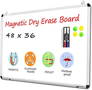48'' x 36'' Magnetic Whiteboard Wall Mounted Dry Erase Board for Office, Home & School Aluminium Framed Whiteboard with Detachable Marker Tray Waterproof Surface