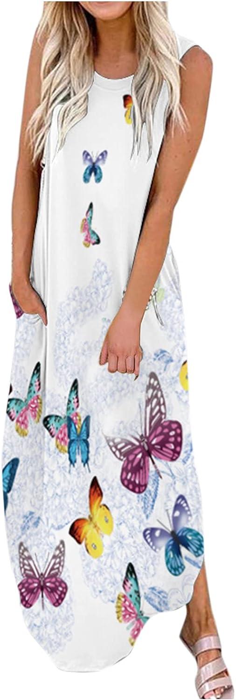 Women Irregular Long Maxi Loose Dress Skirt Sleeveless Pocket Casual Floral Print Beach Summer Floral Pattern Dress