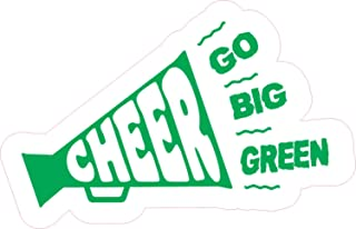 StickerTalk Cheer Megaphone Go Big Green Vinyl Sticker, 5 inches by 3 inches