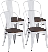 COSTWAY Tolix Style Dining Chairs Industrial Metal Stackable Cafe Side Chair w/Wood Seat Set of 4 (White and Brown)