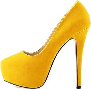 Surprise S Star Style Super High Platform Women Pumps Fashion Solid Flock Skin Shallow High Heels Shoes