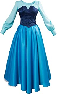 Women Girls Ariel Cosplay Dresses Costume Princess Party Outfit Ball Gown Uniform Blue