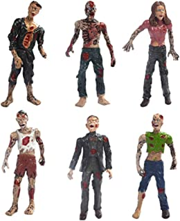 HYSTYLE 6 Pcs Zombie Action Figures Zombie Dolls Terror Corpse Models Figures Dolls for Halloween Decoration Cake Topper