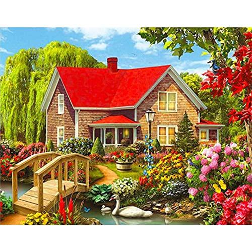 5D DIY diamante pintura jardín paisaje casa diamante bordado conjunto diamante mosaico arte imagen Mural A1 30x40cm