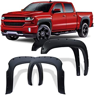 Fender Flares Kit for 2007-2013 Chevy Silverado 1500 (Only Fit 5.8 Feet Short Bed), Textured Matte Black Finish Front Rear Tire Fenders Pocket Rivet Style 4Pcs