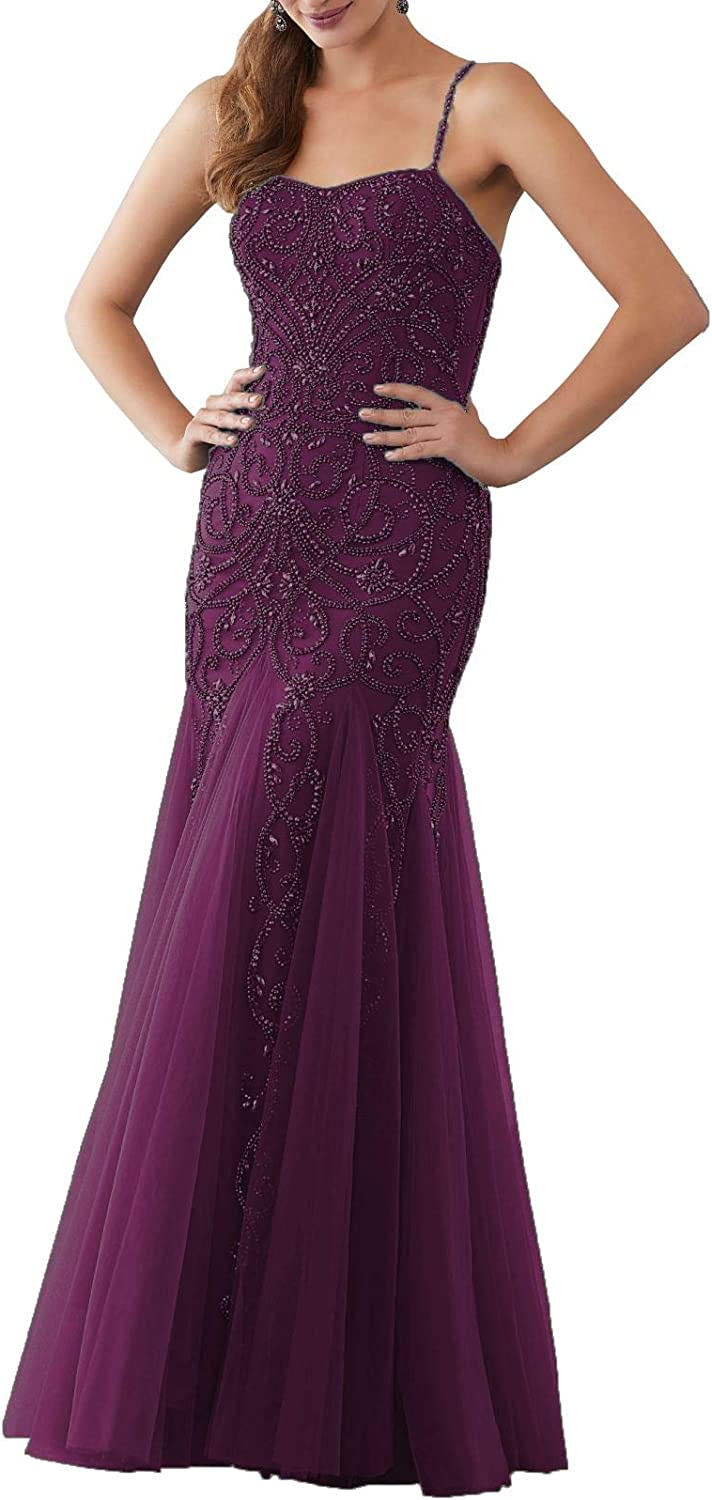 Aishanglina Straps Off The Shoulder Beaded Evening Gown Floor Length Party Tulle Dress