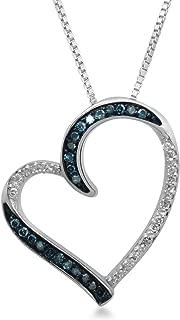Sterling Silver 1/6 cttw Diamond Pendant Necklace, 18
