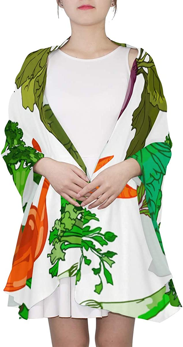 Garden Carrots Cabbage Other Vegetables Unique Fashion Scarf For Women Lightweight Fashion Fall Winter Print Scarves Shawl Wraps Gifts For Early Spring
