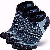 Low Cut Wool Running Socks – Cushioned Merino Wool Athletic Socks for Men and Women, Moisture Wicking (3 Pairs - Black/Grey, Large)