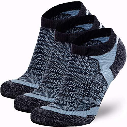 Low Cut Wool Running Socks – Cushioned Merino Wool Athletic Socks for Men and Women, Moisture Wicking (3 Pairs - Black/Grey, Small)