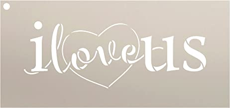 I Love Us Stencil with Heart by StudioR12 | Reusable Mylar Template | Use for Painting Signs on Pallets, Wood and Pillows - DIY Home Decor, Weddings, Valentine, Romance - Choose Size