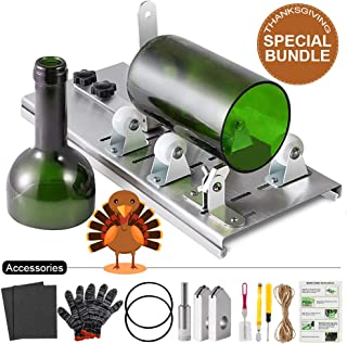 Glass Bottle Cutter Kit, Bottle Cutter DIY Machine for Cutting Round, Square, Oval Bottles and Mason Jars, Accessories Tool Kit Gloves Fixing Rubber Ring Hemp Rope Sanding Paper for Thanksgiving DIY
