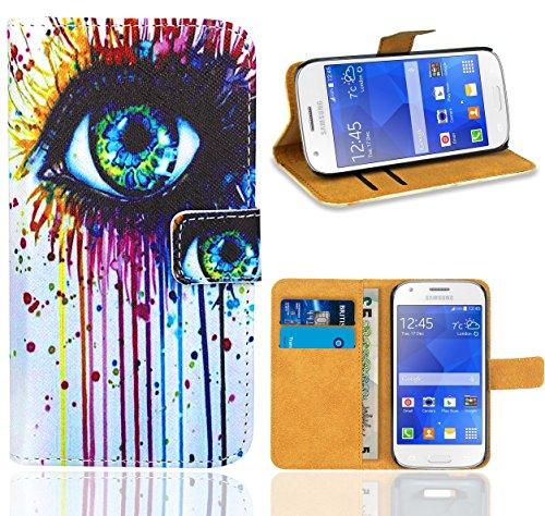 Samsung Galaxy Ace 4 G357 G357FZ Handy Tasche, FoneExpert Wallet Hülle Flip Cover Hüllen Etui Ledertasche Lederhülle Premium Schutzhülle für Samsung Galaxy Ace 4 G357 G357FZ