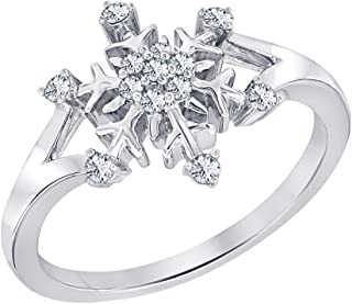 0.39ctw Round White CZ Diamond 14K White Gold Plated Fancy Engagement Frozen Snowflake Ring For Women