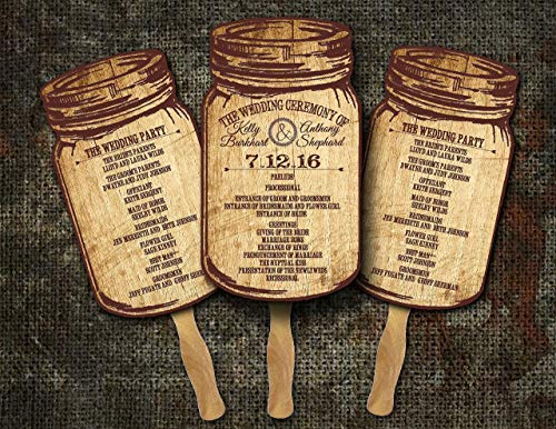 Mason Jar Wedding /Wedding program fans/Wedding fan programs/Wedding favors for guests/Rustic Wedding favors/(Pack of 10)