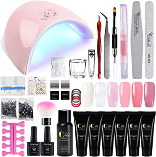 Saint-Acior 36W LED UV Nail Dryer Curing Lamp and 6Pcs Poly Nail Gel Top And Base Coat Kit Nail Extension False Nail Tips Kit