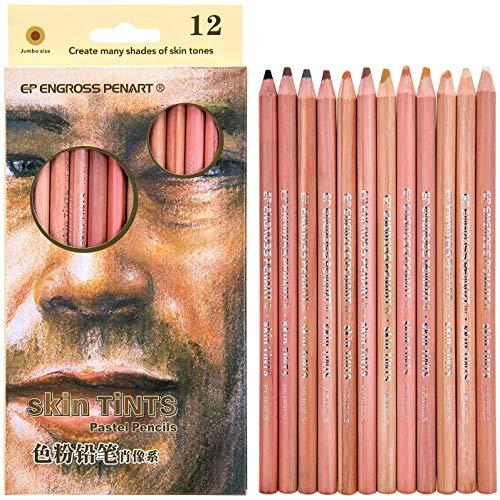 Crayon de Couleur Pastel Doux Professionnel, Crayons pour le Teint, Crayons de Couleur pour Adultes - Set Portrait 12 Pièces