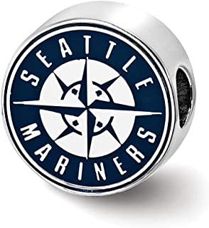 Mia Diamonds 925 Sterling Silver Rhodium-Plated LogoArt Seattle Mariners Enameled Bead Charm for Charm Bracelet