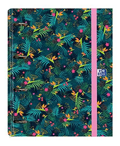 Archivador 4 anillas con recambio y goma Oxford, Colección Blossom, Tapa Extradura A4+ con Recambio 100 Hojas, Cuadrícula 5x5, Diseño oscuro