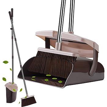 YaYbYc ほうき ちりとり セット 掃除 清掃用具 長柄 自立式 長さ調整可 89cm-126cm 伸縮可 防臭 防菌 防風 蓋付 ブラウン