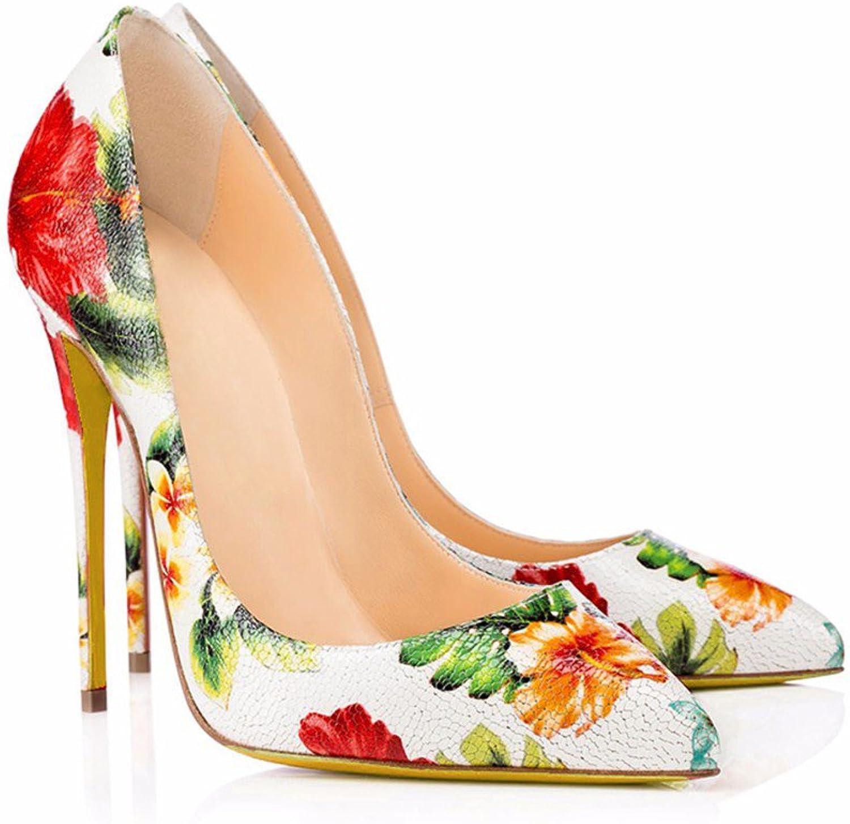 AIWEIYi Womens Pointed Toe Stiletto High Heel Print Platform Dress Pump shoes