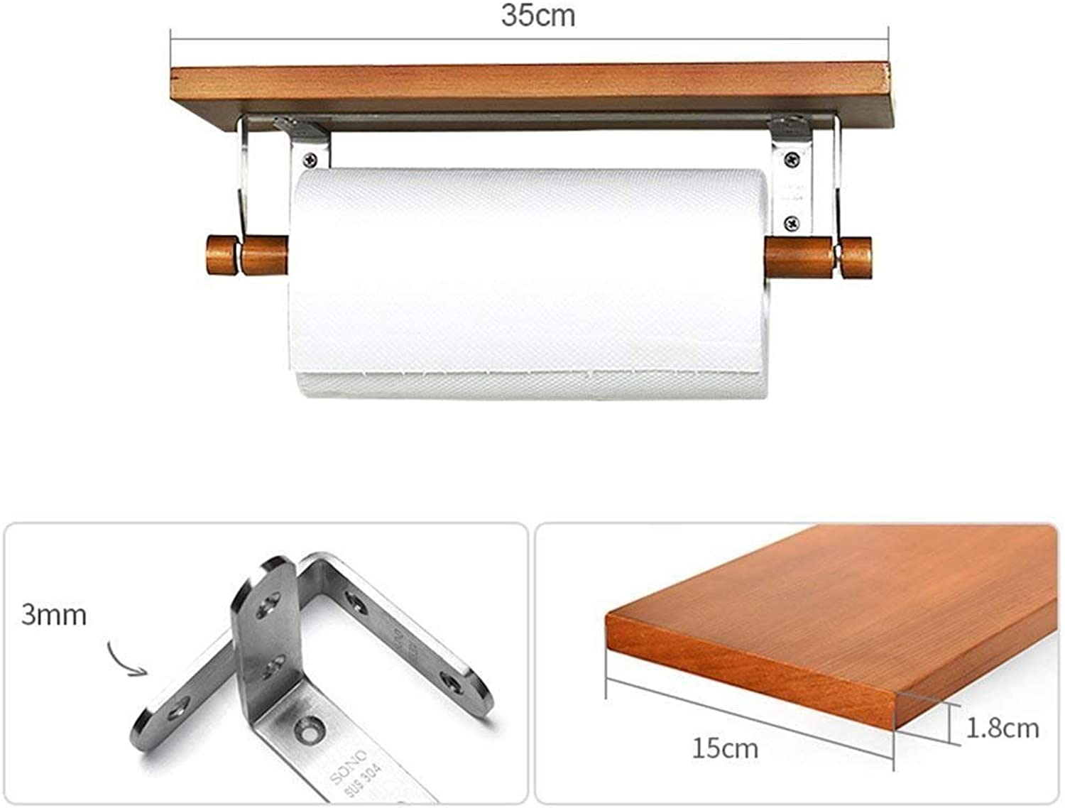 Bathroom Toilet roll Holder for The Kitchen Wall 0718075 Storer Fabrics, Wood 2 color, 2 Sizes (The color The color of The Wood, Size  35cm)