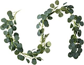 Belle Fleur Faux Eucalyptus Garland 6FT, 147 Pcs Leaves Christmas Greenery Garland for Wedding Backdrop Table Runner Decor