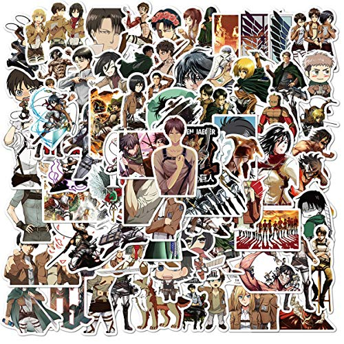 100Pack Attack on Titan Anime Theme Stickers Set Random Sticker Decals for Water Bottle Laptop Cellphone Bicycle Motorcycle Car Bumper Luggage Travel Case. Etc (Attack on Titan)