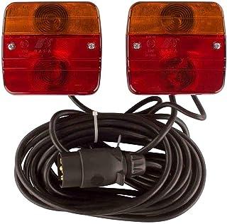 Anhängerbeleuchtung, magnetisch, 12 Volt, 7.5 Meter Zuleitung, 7 Pol Stecker, Dreifunktionskammer, Anhängerbeleuchtung, Rückleuchten, Bremslicht, Rücklicht, Anhänger Beleuchtung Set