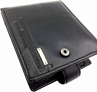 Glod Men's Genuine Leather Wallet Men's Short Money Clips Small Coin Pocket Bifold Credit Card Holder Thin Purse with ID W...
