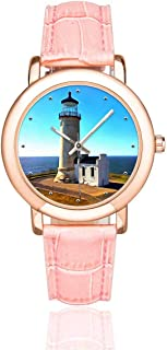 InterestPrint White Lighthouse Women's Waterproof Wrist Watches Casual Rose Golden Watch
