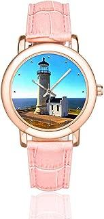 InterestPrint White Lighthouse Women's Waterproof Wrist Watches Casual Rose Golden Watch