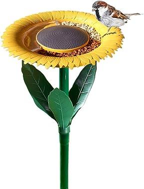Original Sunflower Bird Feeder Outdoor - Flower Shape Bird Feeding Tray, Tiny Bird Bath, Garden Decor Stake, Ideal Gift Surpr