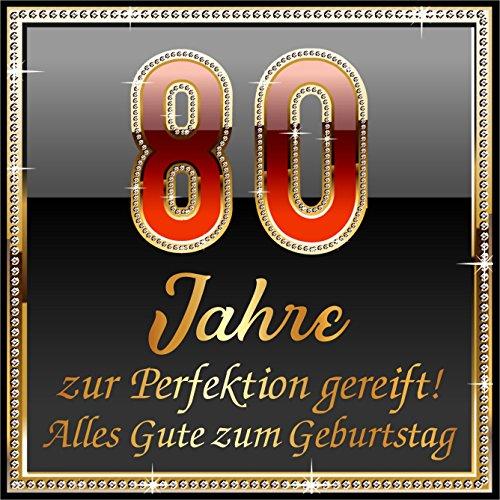 RAHMENLOS - Pegatinas Autoadhesivas (3 Unidades), diseño con Texto en alemán 80 Jahre zur Perfektion Gereift!
