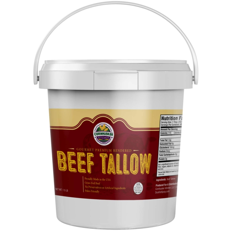 Cornhusker Kitchen Beef High quality Tallow - Free shipping Grass 1.5 Poun fed