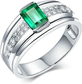 Daesar Anelli Uomo Fidanzamento Oro Bianco 18K, Anello con Smeraldo 0.7ct Rettangolare 4 Griffe con Diamante 0.18ct Anelli...