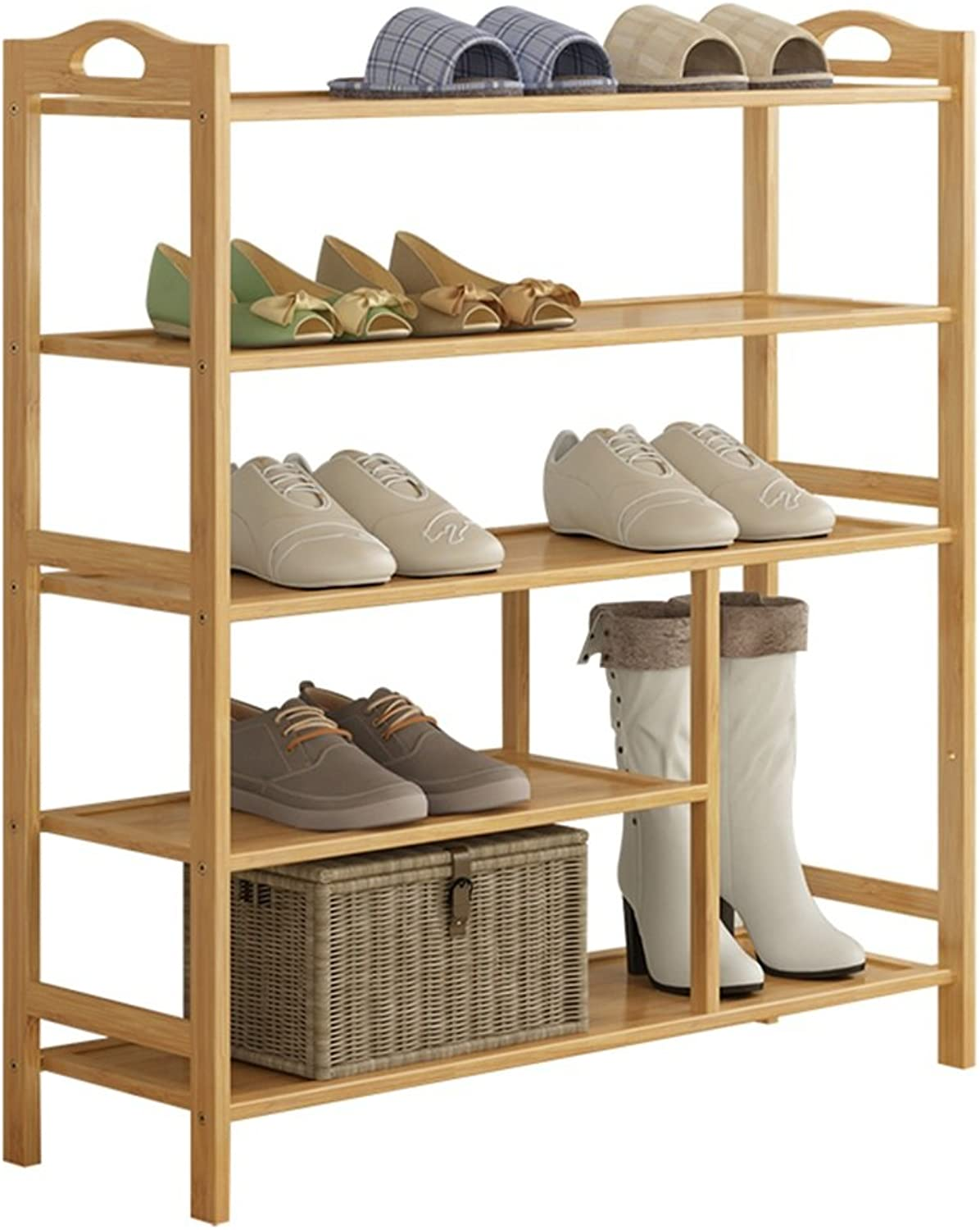 ZHIRONG Bamboo 5-Tier shoes Rack 12-16 Pairs Entryway shoes Shelf Storage Organizer 70  26  93CM   80  26  93CM   90  26  93CM