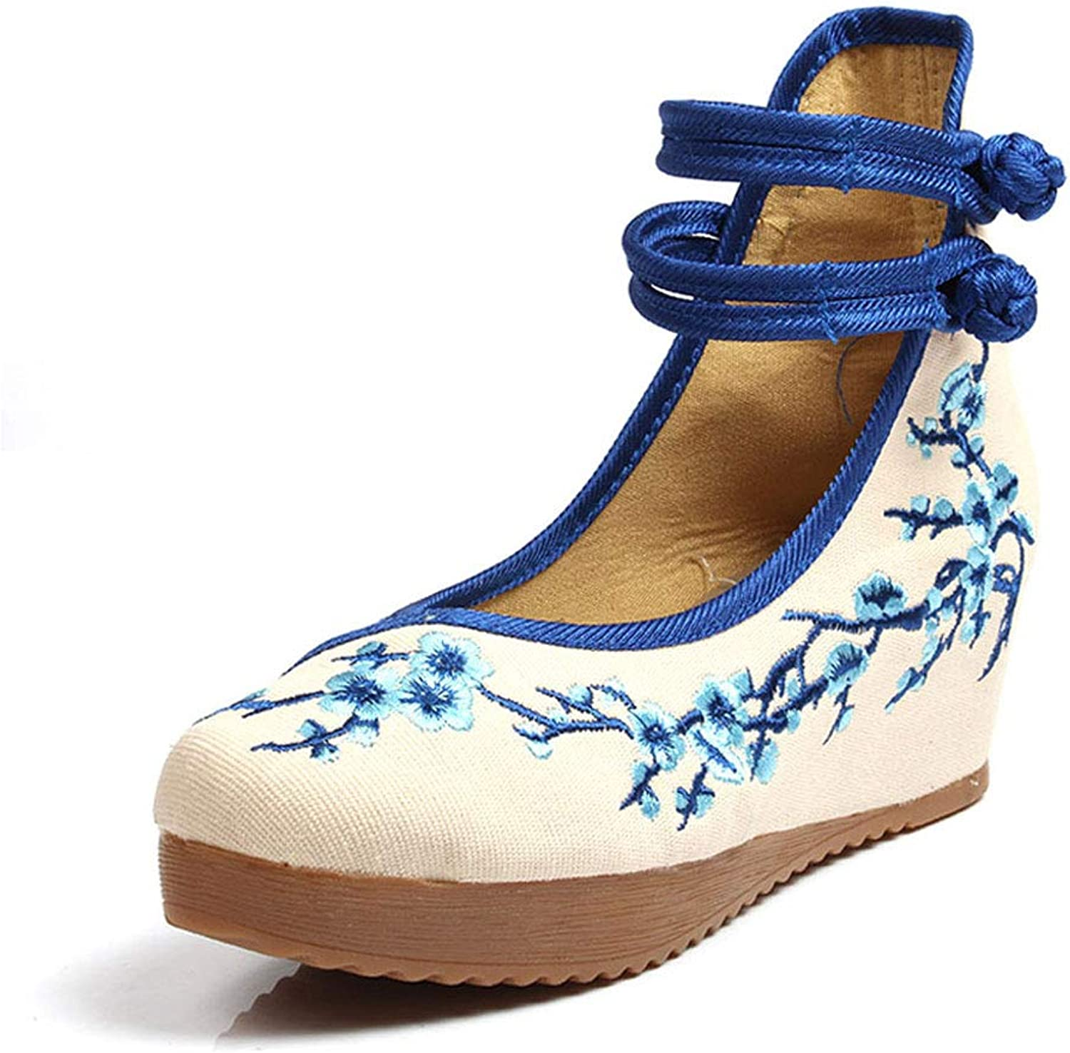 Women's High Heeled Embroidered shoes Elegant Cloth shoes Breathable Casual Ballet shoes Fashion Women's shoes (color   bluee, Size   35)