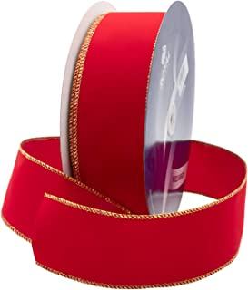 Royal Imports Wired Traditional Red Velvet Christmas Waterproof Ribbon with Gold Edge 2 1/2
